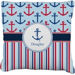 Anchors & Stripes Faux-Linen Throw Pillow (Personalized)