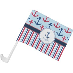 Anchors & Stripes Car Flag (Personalized)