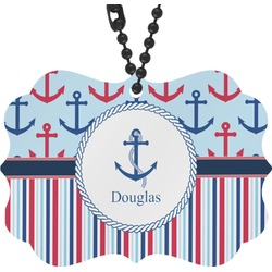 Anchors & Stripes Rear View Mirror Decor (Personalized)