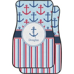 Anchors & Stripes Car Floor Mats (Front Seat) (Personalized)