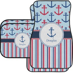 Anchors & Stripes Car Floor Mats Set - 2 Front & 2 Back (Personalized)