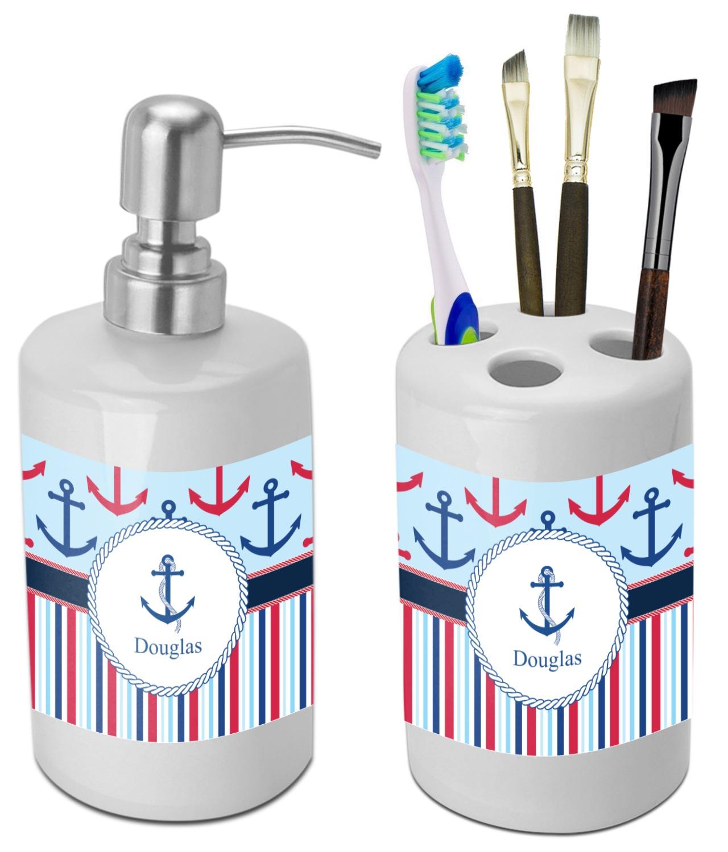 Anchors & Stripes Bathroom Accessories Set (Ceramic) (Personalized ...