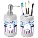 Anchors & Stripes Bathroom Accessories Set (Ceramic) (Personalized)