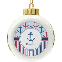 Anchors & Stripes Ceramic Ball Ornament (Personalized)