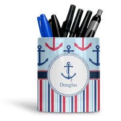 Anchors & Stripes Ceramic Pen Holder