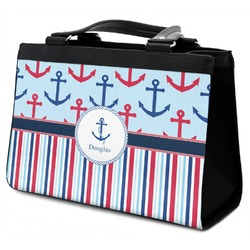 Anchors & Stripes Classic Tote Purse w/ Leather Trim w/ Name or Text