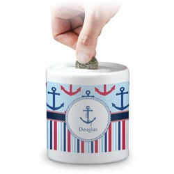 Anchors & Stripes Coin Bank (Personalized)