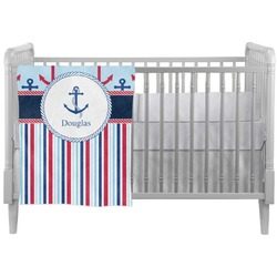 Anchors & Stripes Crib Comforter / Quilt (Personalized)