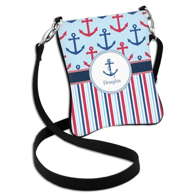 Anchors & Stripes Cross Body Bag - 2 Sizes (Personalized)