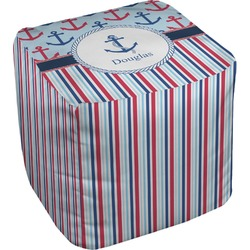 Anchors & Stripes Cube Pouf Ottoman (Personalized)