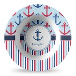 Anchors & Stripes Plastic Bowl - Microwave Safe - Composite Polymer (Personalized)