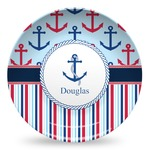 Anchors & Stripes Microwave Safe Plastic Plate - Composite Polymer (Personalized)