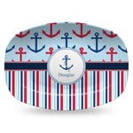Anchors & Stripes Plastic Platter - Microwave & Oven Safe Composite Polymer (Personalized)