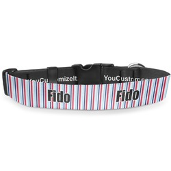"Anchors & Stripes Deluxe Dog Collar - Double Extra Large (20.5"" to 35"") (Personalized)"