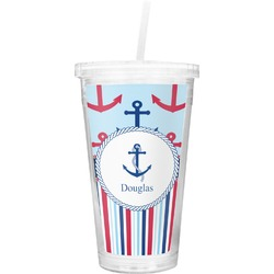 Anchors & Stripes Double Wall Tumbler with Straw (Personalized)