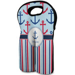 Anchors & Stripes Wine Tote Bag (2 Bottles) (Personalized)