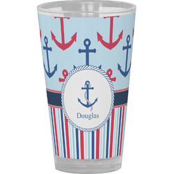 Anchors & Stripes Drinking / Pint Glass (Personalized)