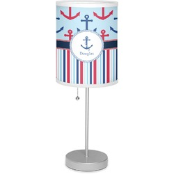"""Anchors & Stripes 7"""" Drum Lamp with Shade Linen (Personalized)"""