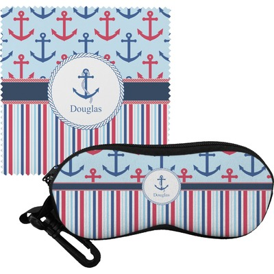 Anchors & Stripes Eyeglass Case & Cloth (Personalized)