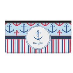Anchors & Stripes Genuine Leather Checkbook Cover (Personalized)