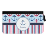 Anchors & Stripes Genuine Leather Ladies Zippered Wallet (Personalized)