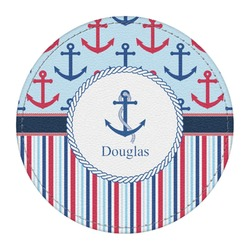 Anchors & Stripes Round Desk Weight - Genuine Leather  (Personalized)