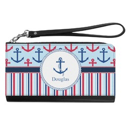 Anchors & Stripes Genuine Leather Smartphone Wrist Wallet (Personalized)