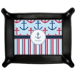 Anchors & Stripes Genuine Leather Valet Tray (Personalized)