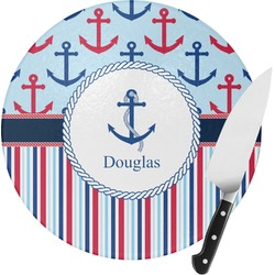 Anchors & Stripes Round Glass Cutting Board (Personalized)