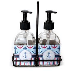 Anchors & Stripes Soap & Lotion Dispenser Set (Glass) (Personalized)