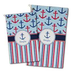 Anchors & Stripes Golf Towel - Full Print w/ Name or Text