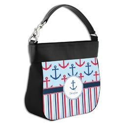 Anchors & Stripes Hobo Purse w/ Genuine Leather Trim (Personalized)