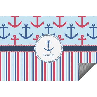 Anchors & Stripes Indoor / Outdoor Rug - 4'x6' (Personalized)