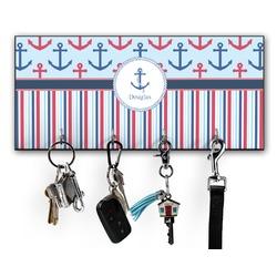 Anchors & Stripes Key Hanger w/ 4 Hooks (Personalized)