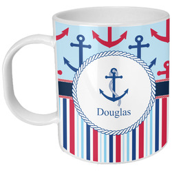 Anchors & Stripes Plastic Kids Mug (Personalized)