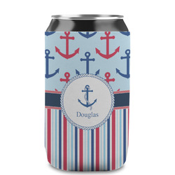 Anchors & Stripes Can Sleeve (12 oz) (Personalized)