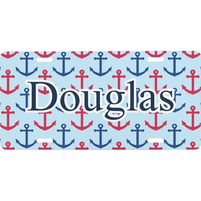 Anchors & Stripes Front License Plate (Personalized)