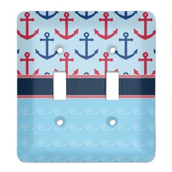 Anchors & Stripes Light Switch Cover (2 Toggle Plate) (Personalized)