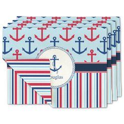 Anchors & Stripes Linen Placemat w/ Name or Text