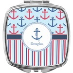 Anchors & Stripes Compact Makeup Mirror (Personalized)
