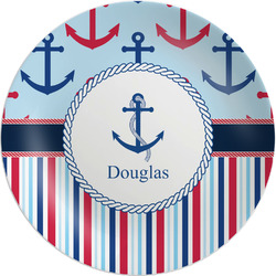 "Anchors & Stripes Melamine Plate - 8"" (Personalized)"