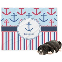Anchors & Stripes Minky Dog Blanket - Large  (Personalized)
