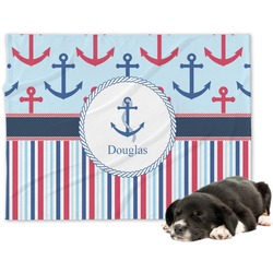 Anchors & Stripes Dog Blanket (Personalized)