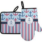 Anchors & Stripes Oven Mitt & Pot Holder (Personalized)