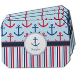 Anchors & Stripes Dining Table Mat - Octagon w/ Name or Text