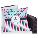 Anchors & Stripes Outdoor Pillow (Personalized)