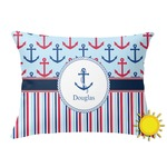 Anchors & Stripes Outdoor Throw Pillow (Rectangular) (Personalized)