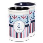 Anchors & Stripes Ceramic Pencil Holder - Large