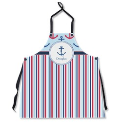 Anchors & Stripes Apron Without Pockets w/ Name or Text