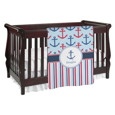 Anchors & Stripes Baby Blanket (Personalized)